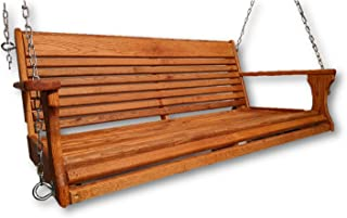 product image for Wormy Red Oak Porch Swing with Chain Set
