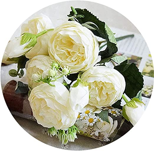 Artificial Bouquet 5 Head Peony Silk Flowers Fake Bridal Wedding Party Decor