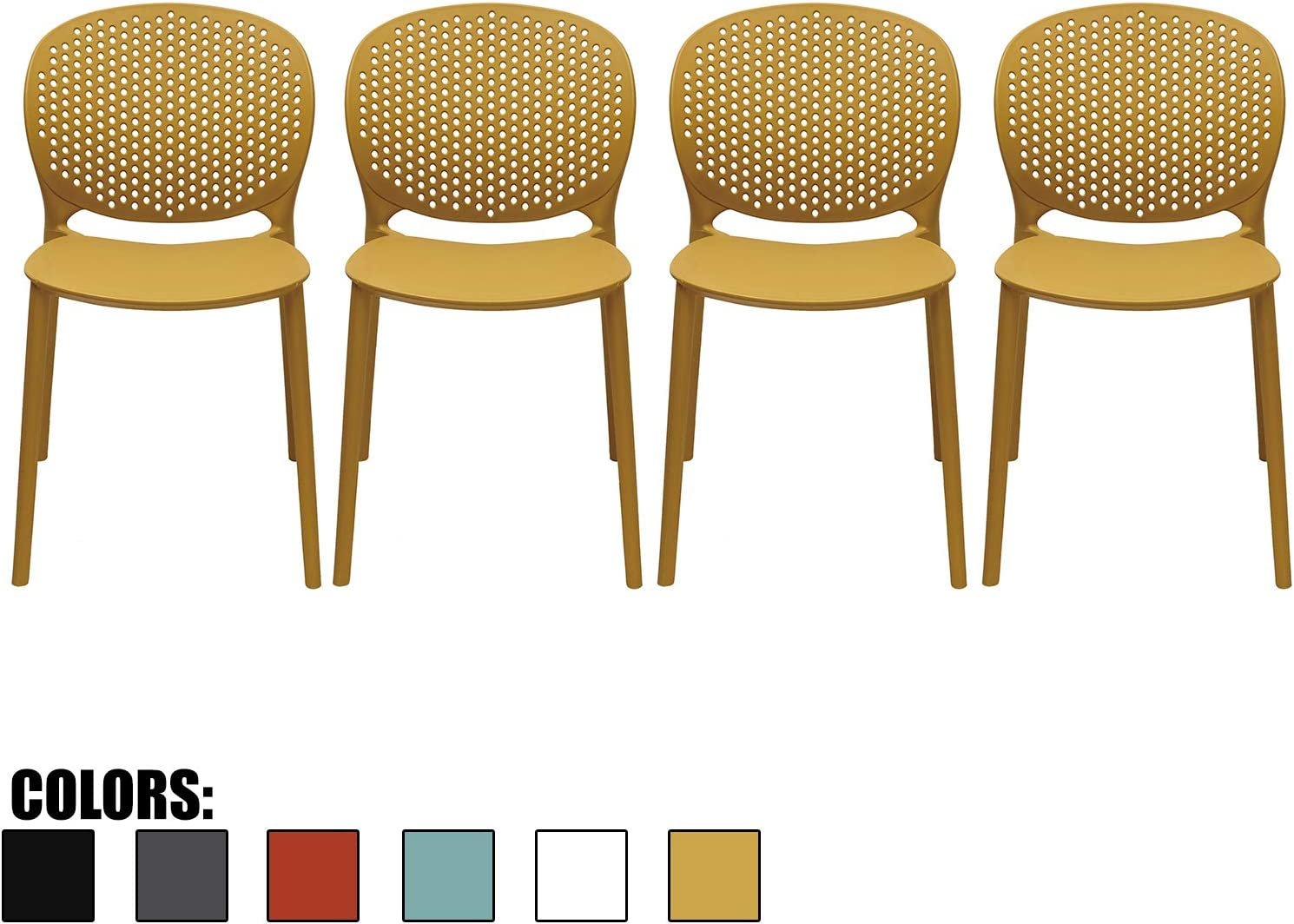 7xhome Set of 7 - Dining Room Chairs - Plastic Chair with Backs Designer  Chair Modern Chair Indoor Outdoor Light Weight Armless Chair - Matte Finish