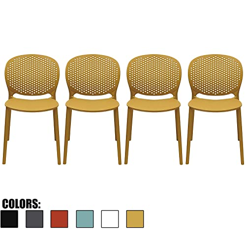 2xhome Set of 4 – Dining Room Chairs – Plastic Chair with Backs Designer Chair Modern Chair Indoor Outdoor Light Weight Armless Chair – Matte Finish Yellow