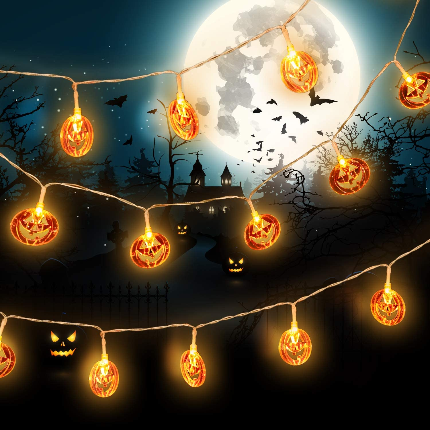 Delxo Pumpkin Gothic Decorations Lights, 20 LED Pumpkin String Lights 9.8 Feet for Horror Theme Party Outdoor & Indoor, Battery Powered 2 Modes Steady/Flickering Lights Waterproof Decorate Pumpkin
