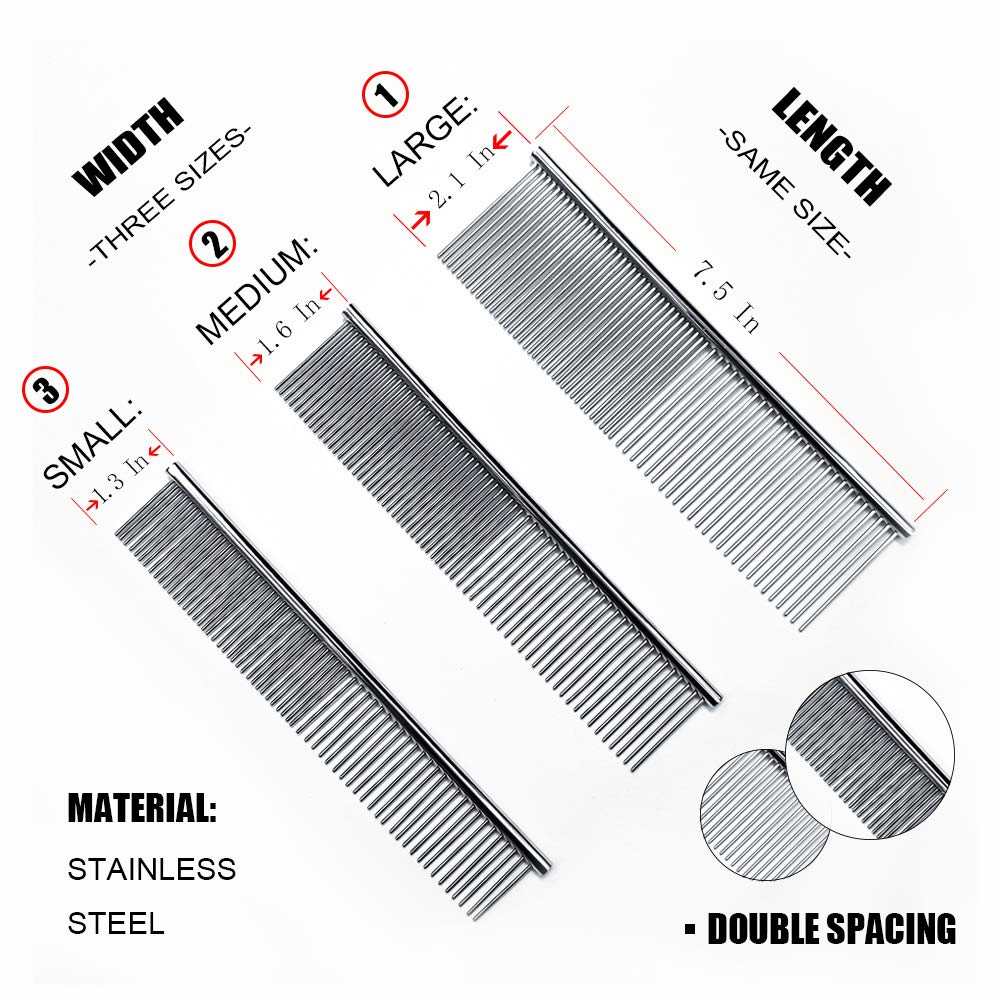 Three piece set of pet carding steel comb,Solve pet hair knotting,Suitable for pet cat and dog.