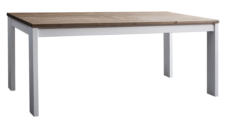 Hever Esstisch mit 6 Stühlen in weiß und Dunkles Kiefernholz ...
