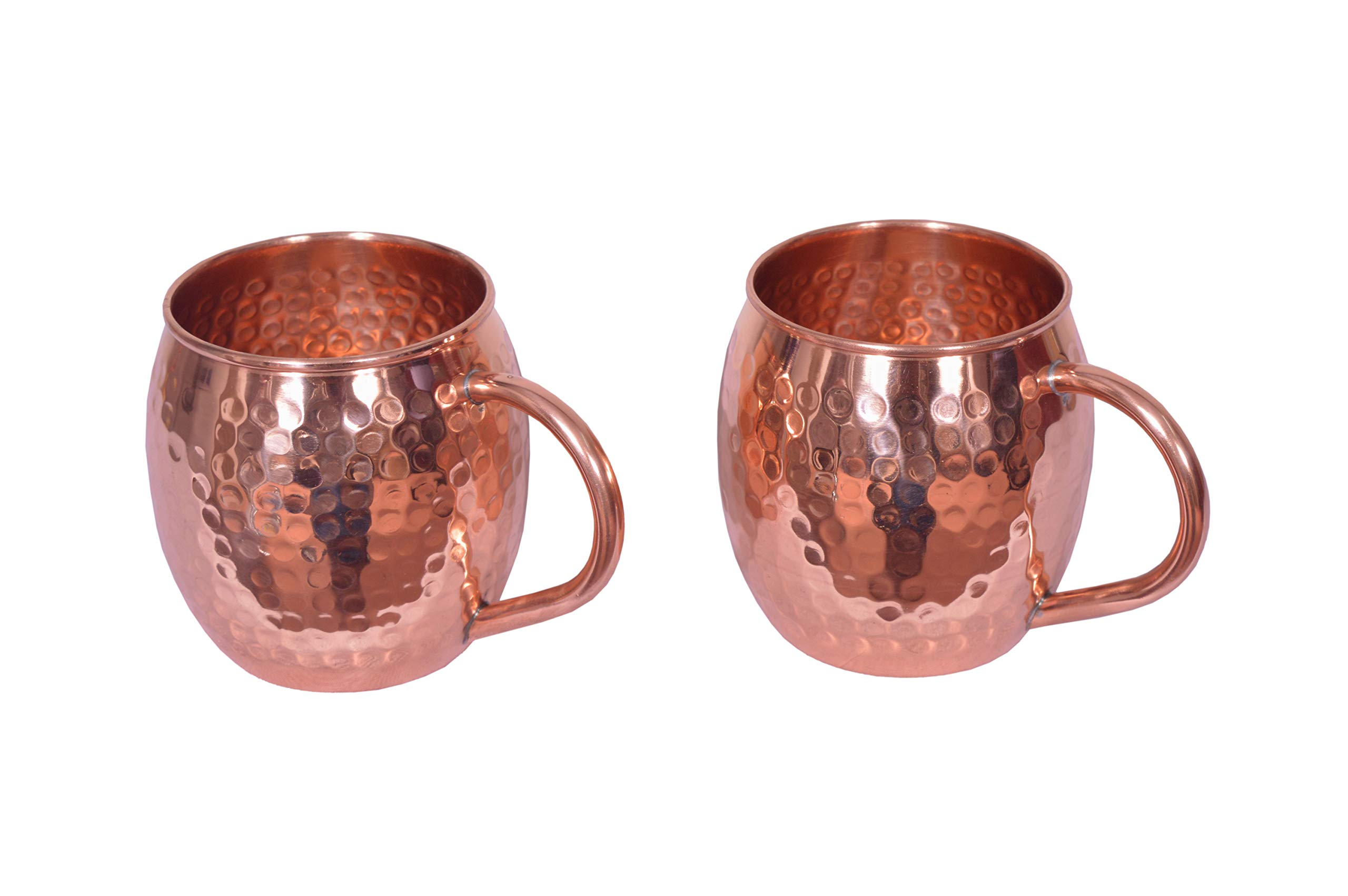 COPPER ESSENTIALS Mascow Mule 18 ounces Hammered Copper Mugs set of two made from 100% pure copper with round handle