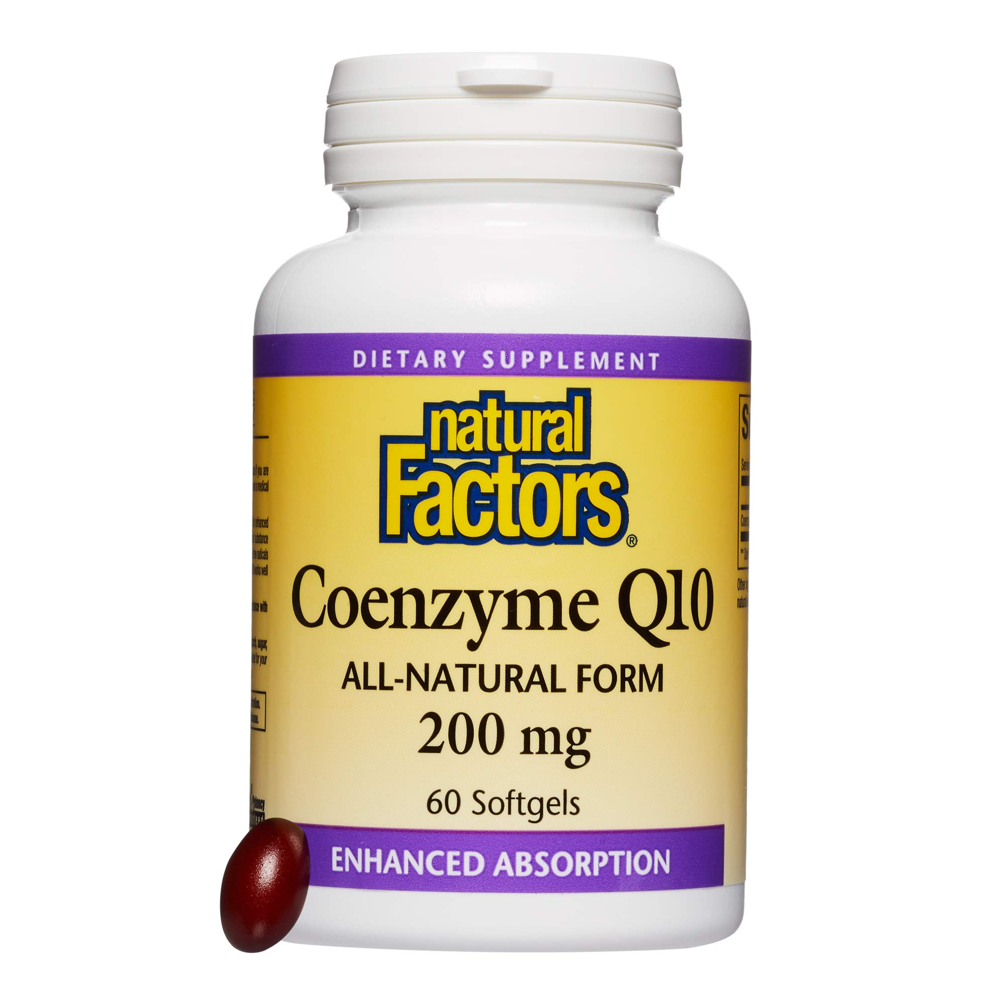 Natural Factors - Coenzyme Q10 200mg, Antioxidant Support to Protect Against Free Radical Damage, while Promoting Cellular Energy Production and Heart Health, 60 Softgels