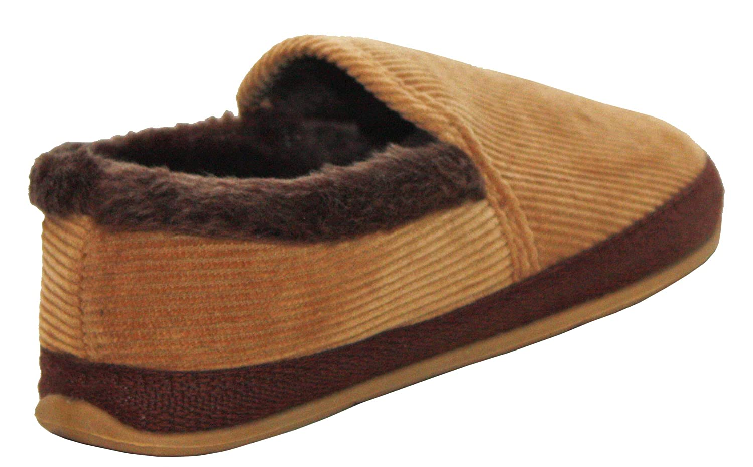 Mens Slip On Slippers Cord Tan Brown Warm Lined Hard Soled Coolers Premier