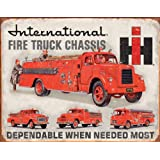 "International Fire Truck Chassis Tin Sign 12.5"" X 16"" , 16x12"