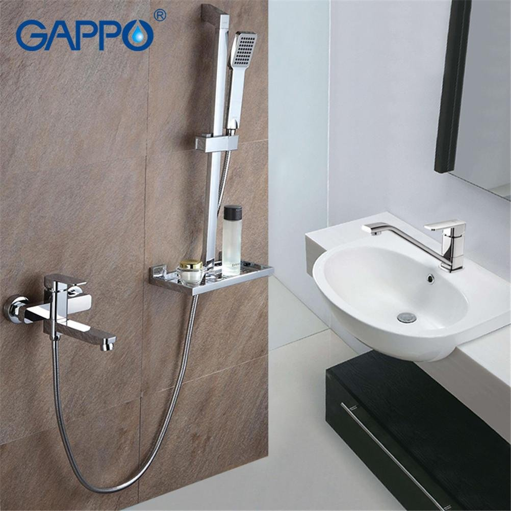 1 Set Bathroom Combination Basin Faucet Shower Tap Single Handle Cold and Hot Water Mixer with Slide Bar Shower Frame