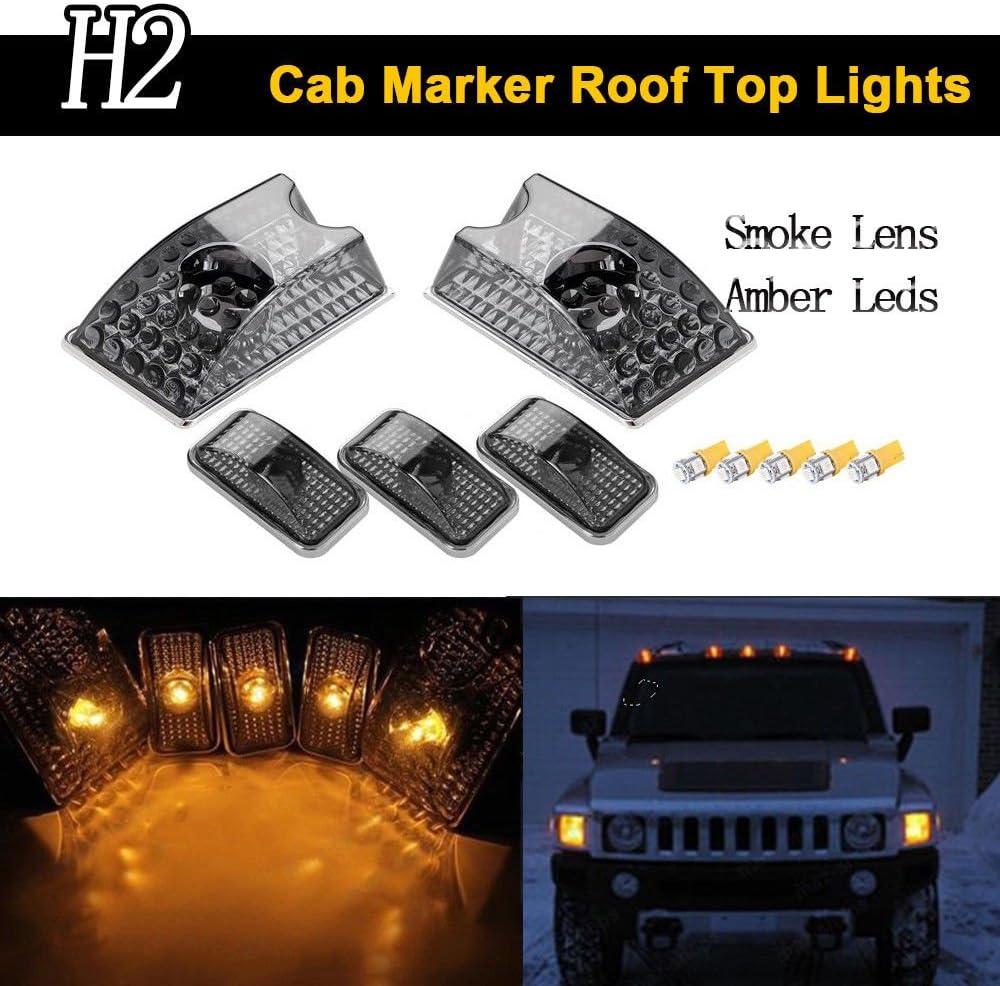 haichen 5pcs humo techo cabina marcador, lente y T10LED ámbar luz bombillas para SUV Sut