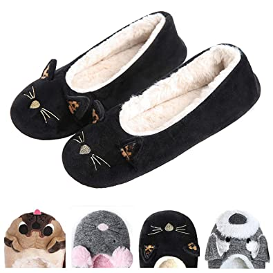 fbe523028a35a Women's Plush Winter Warm Animal Soft Cute Home Slippers Dog Black 5-6 ...