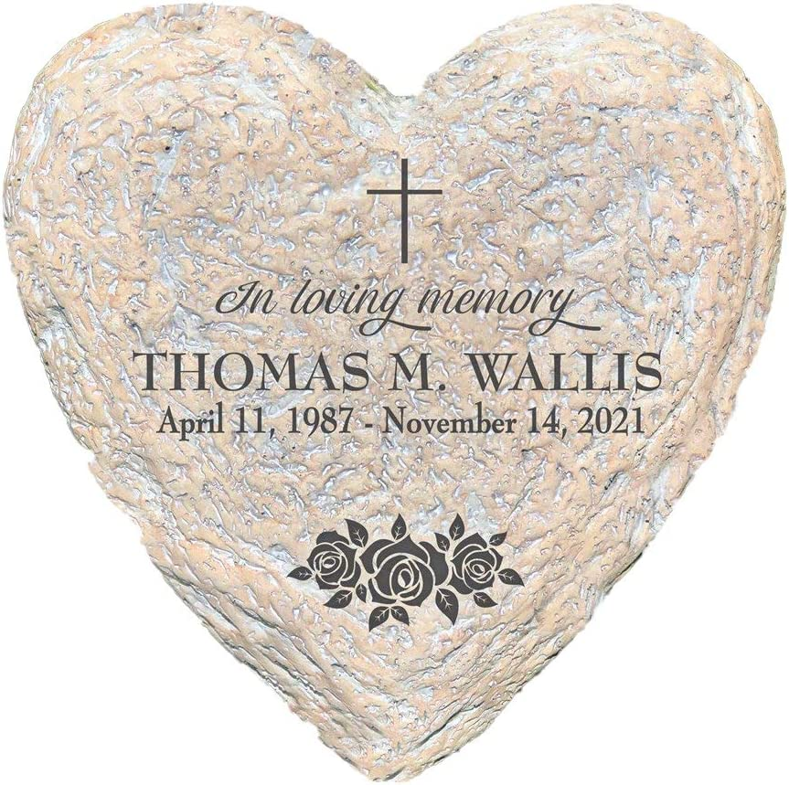 GiftsForYouNow in Loving Memory with Roses Personalized Memorial Garden Stone, Engraved, 8.5