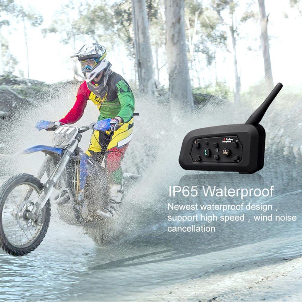 Motorcycle Helmet Bluetooth Intercom Headset, V6 BT 1200M Range 6 Riders Wireless Interphone Speakers IP65 Waterproof Communication Systems Kit for Motorbike Skiing Cycling Climbing by TOP-MAX (Image #4)