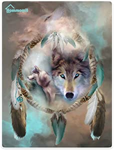 """HommomH 50"""" x 80"""" Blanket Comfort Warmth Soft Cozy Air Conditioning Easy Care Machine Wash Cool Wolf Dream Catcher"""