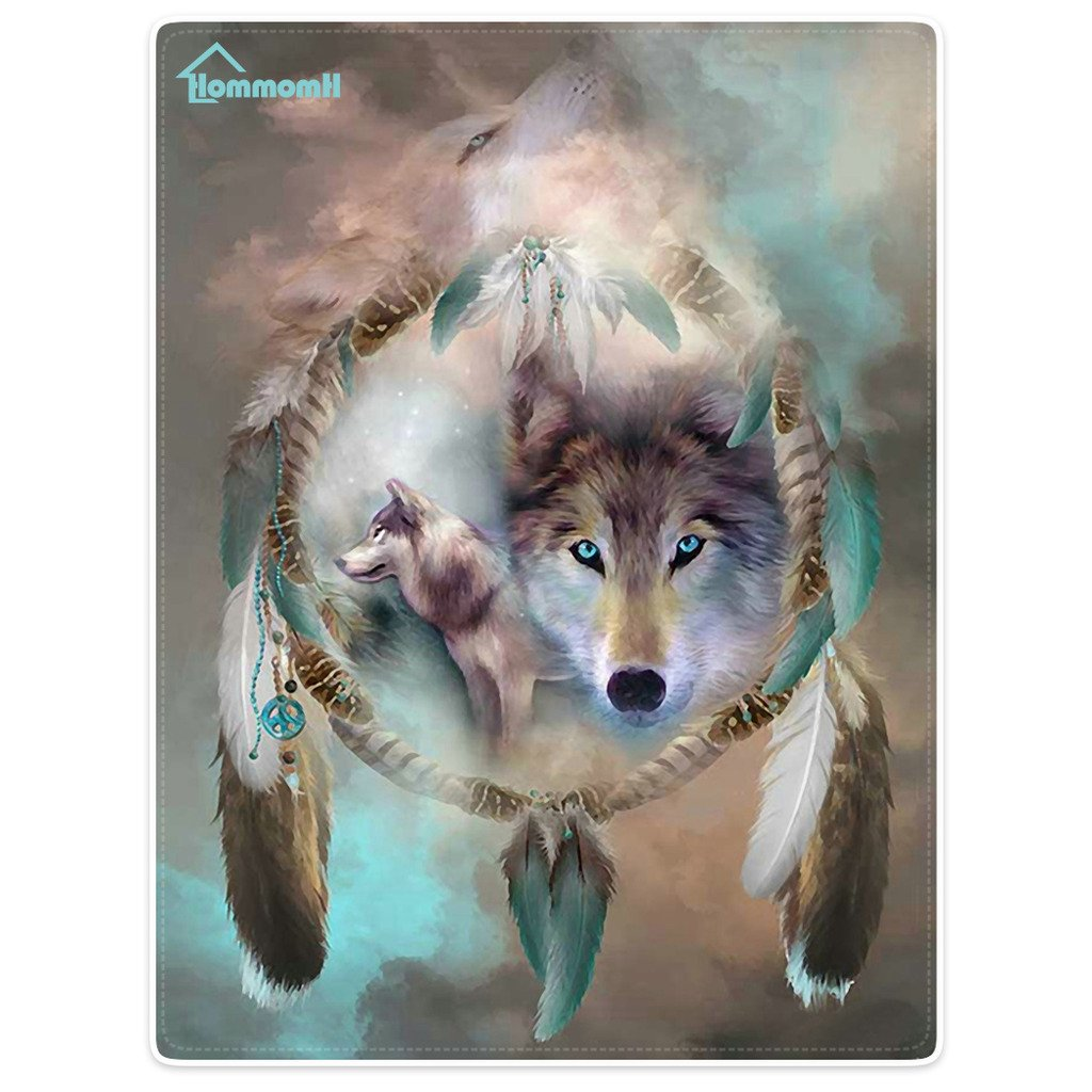 "HommomH 60"" x 80"" Blanket Comfort Warmth Soft Cozy Air Conditioning Easy Care Machine Wash Cool Wolf Dream Catcher"