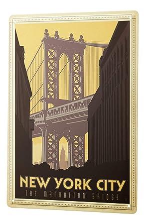 Plaque émaillée Déco Ville New York City Manhattan Bridge 20x30 Cm