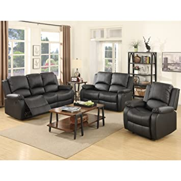 SUNCOO 3-Piece Bonded Leather Recliner Sofa Set Loveseat Chair Living Room  Furniture Set Black
