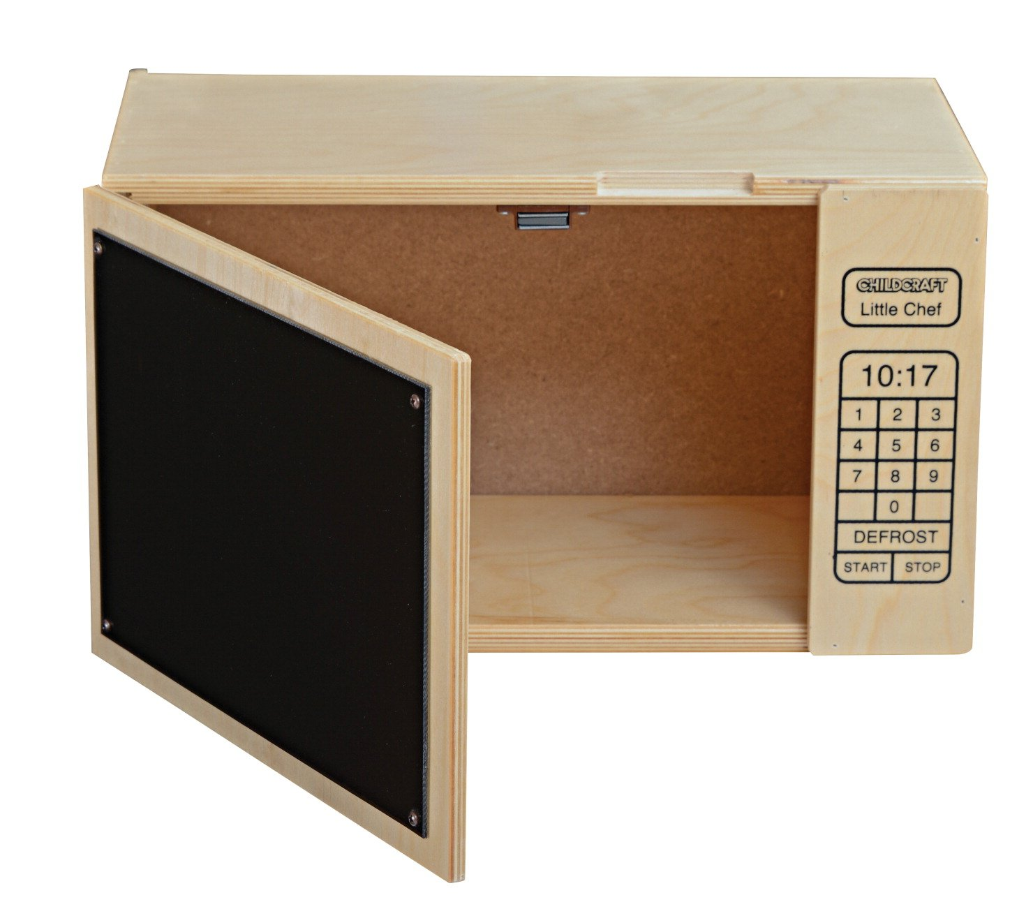 """Childcraft 074963 Kitchen Play Little Chef Microwave Oven, 17"""" x 9"""" x 9-3/4"""", Natural Wood Tone"""