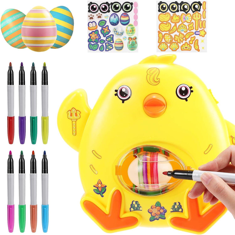 Decoración de Huevos de Pascua, joylink Huevos Pintados de Bricolaje DIY Huevo de Pascua Kit con Máquina Huevos de Pascua, 8 Marcadores, 3 Huevos & Pegatinas para Niños Regalos