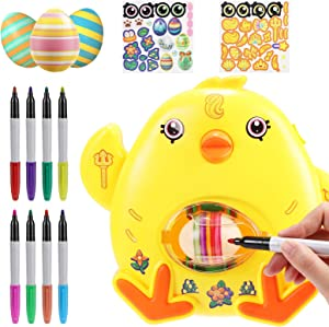 Fixget Easter Egg Decoration Kit, Egg Painting Toy with 8 Markers & 3 Plastic Eggs, Easter Egg Spinner Decorating Art Machine , Easter Party Basket Stuffers, DIY Craft Gift for Boys Girls