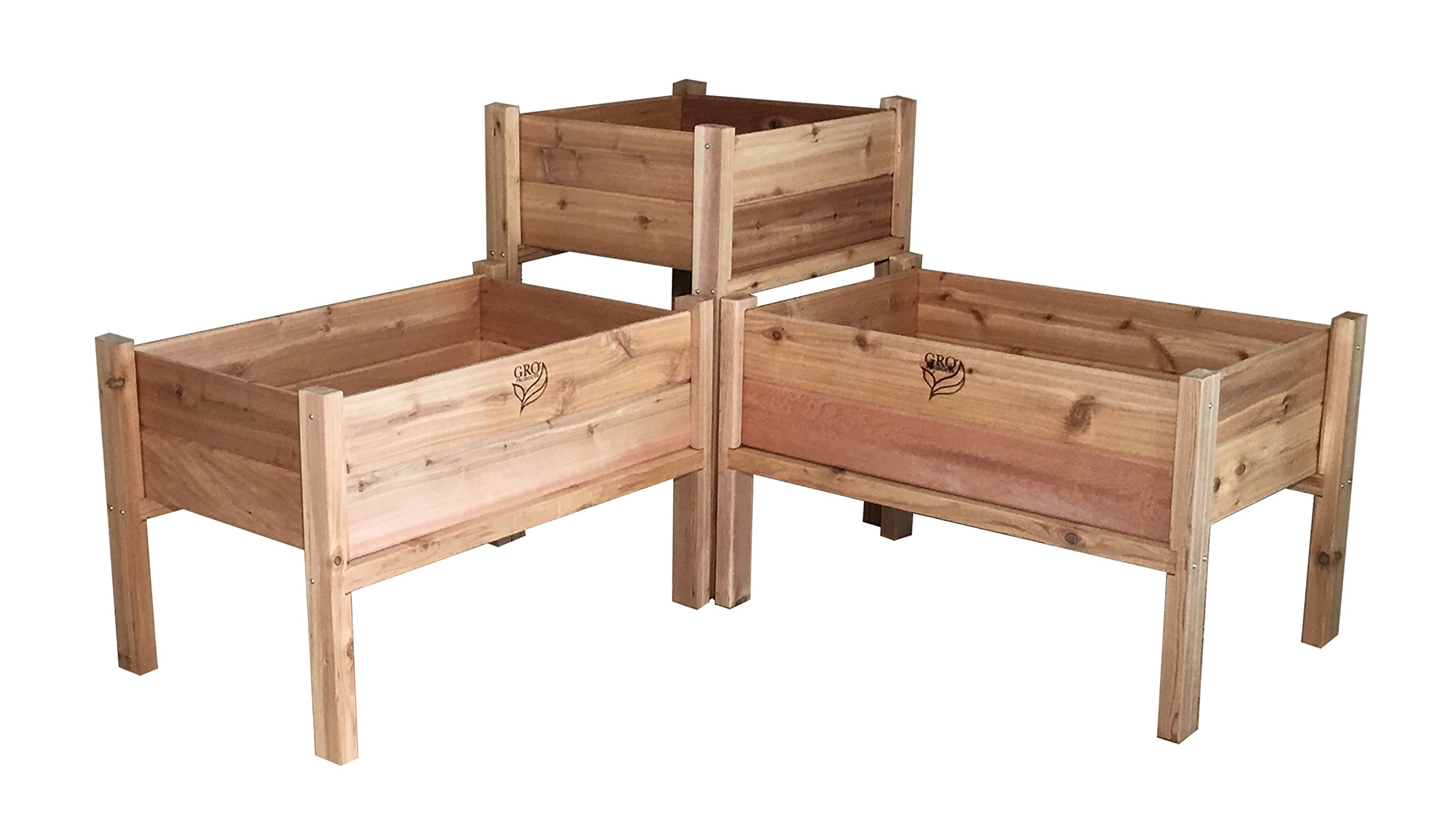 GRO Products FP-EGB-COMBO Cedar Elevated Garden Bed Combo by Gro