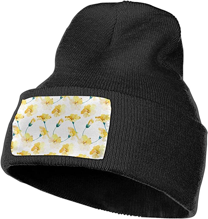 QZqDQ Seamless Watercolor Painting for Flowers Unisex Fashion Knitted Hat Luxury Hip-Hop Cap