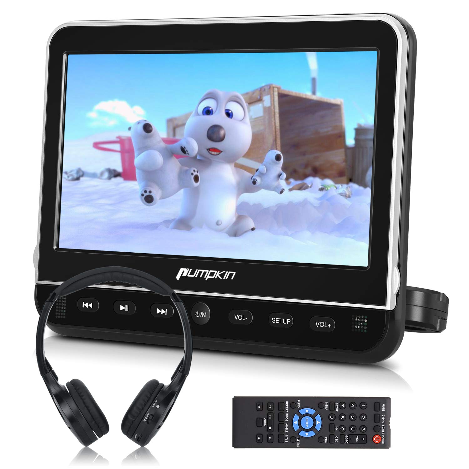 PUMPKIN 10.1'' Car Headrest DVD Player with Free Headphone, Support 1080P Video, HDMI Input, AV in/Out, Region Free, USB/SD