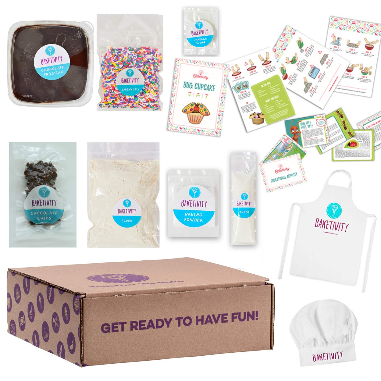 BAKETIVITY Kids Baking DIY Activity Kit - Bake Delicious Bug Cupcakes With Pre-Measured Ingredients - Best Gift Idea For Boys And Girls Ages 6-12 - Includes FREE Hat and Apron
