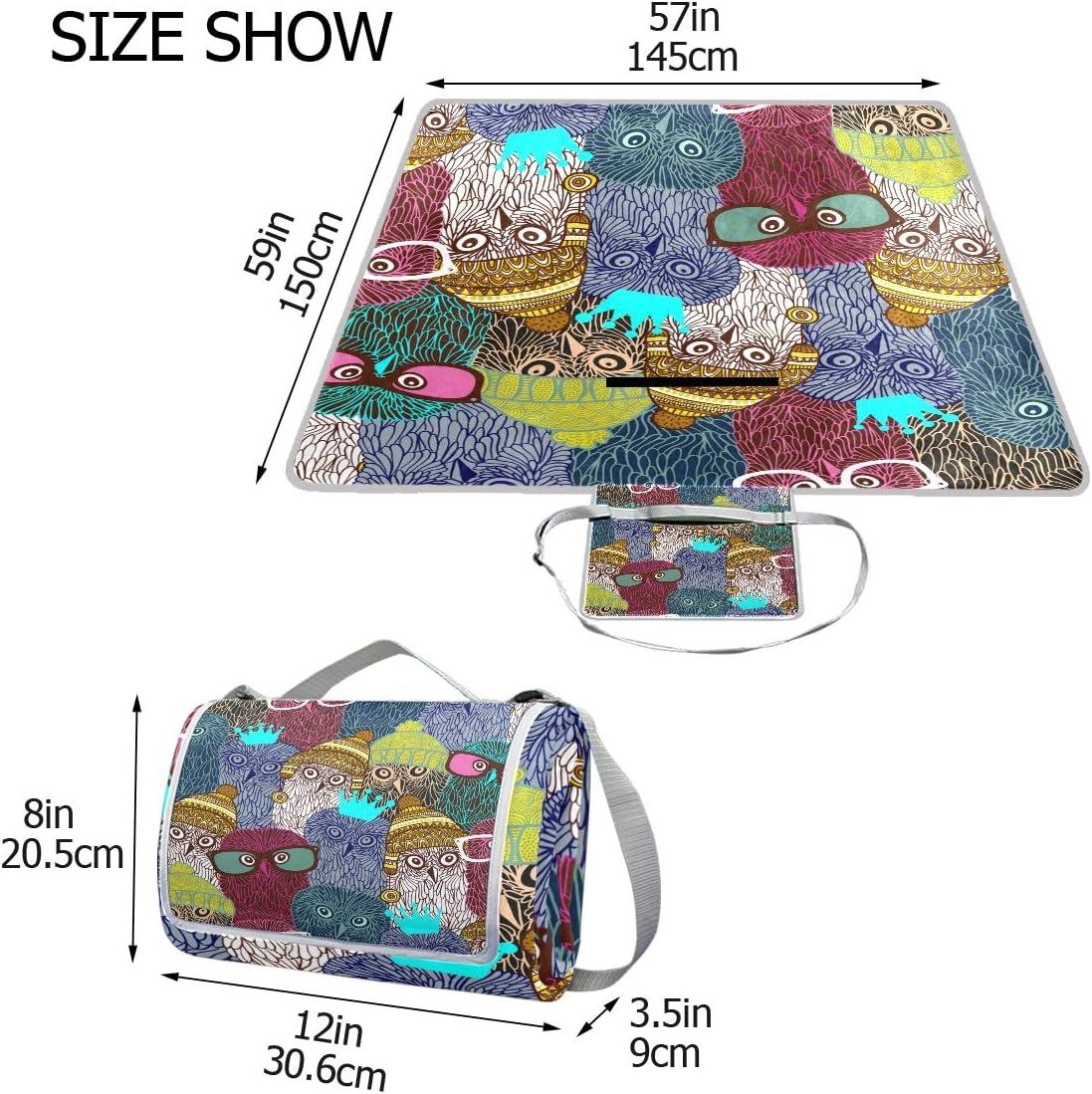 XINGAKA Coperta da Picnic Tappetino Campeggio,Arancia Senza Cuciture del Modello di Vettore di Viaggio del Mondo,Giardino Spiaggia Impermeabile Anti Sabbia 8