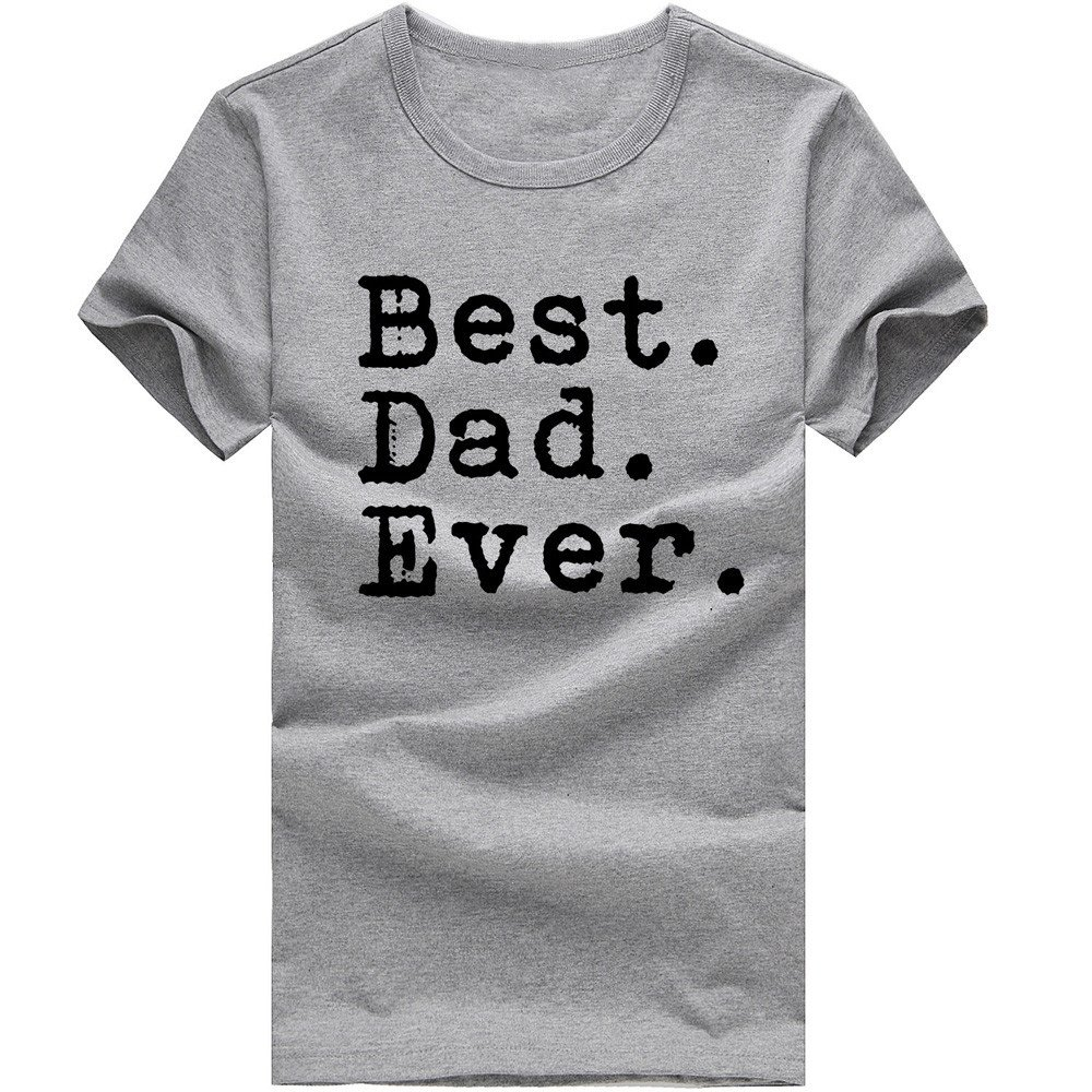 MISYAA Best Dad T Shirts for Men, Letters Muscle Tee Shirt Short Sleeve Sweatshirt Sport Tank Top Fathers Gift Mens Tops Gray