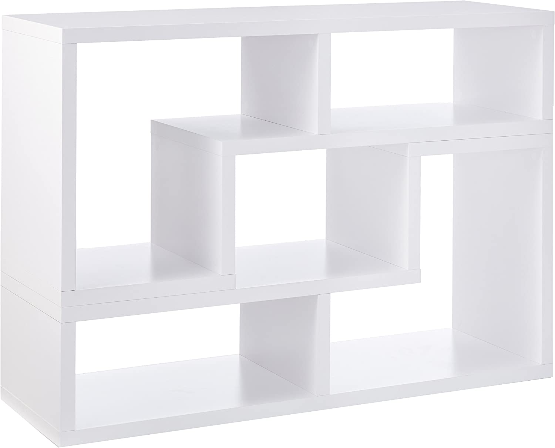 Convertible TV Console and Bookcase Combination White