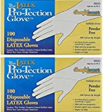 Disposable Latex Gloves, Powder Free, Size: Small, 100 Count 2 Packs (2 Boxes)