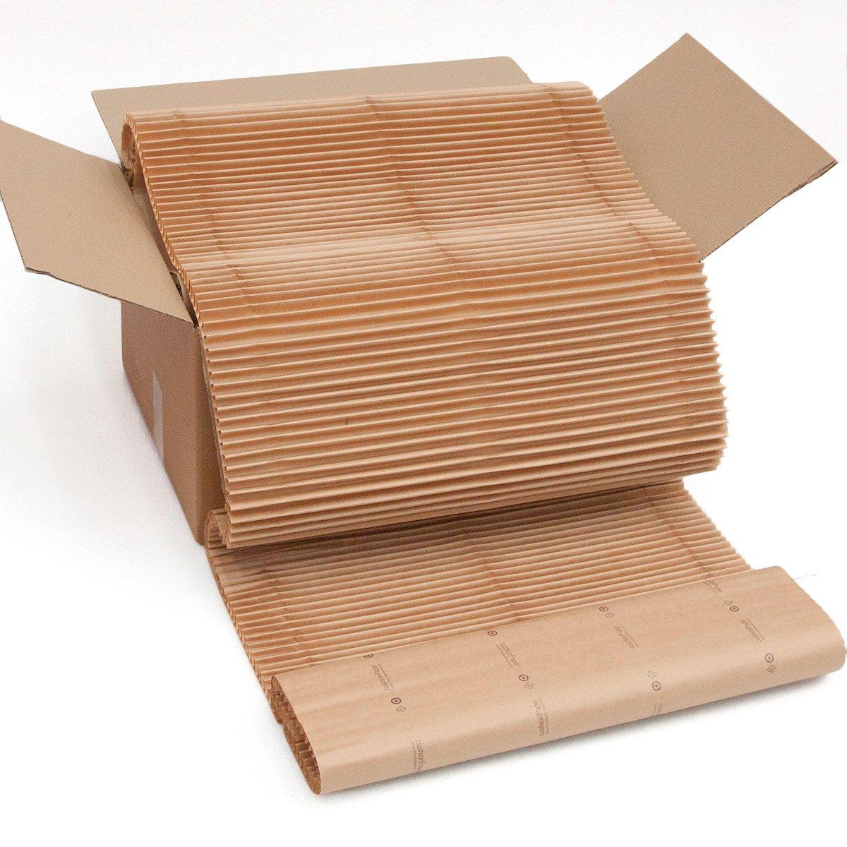 Der ökologische Ersatz für Luftpolsterfolie, Noppenfolie, Blisterfolie und Knallfolie. cushionPaper Schachtel: Sie erhalten 10 m x 60 cm Material in einem 60 x 40 x 30 cm großen Karton. Das Material ist alle 39 cm zur Hälfte durchschnitten und ohne Schere