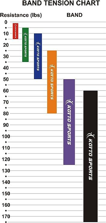 Bandas elásticas para dominadas (pull-ups) – 6 niveles, 1 – 80 kg ...