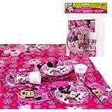 Disney - Pack de fiesta reciclable Minnie: mantel, platos, vasos, servilletas (71918)