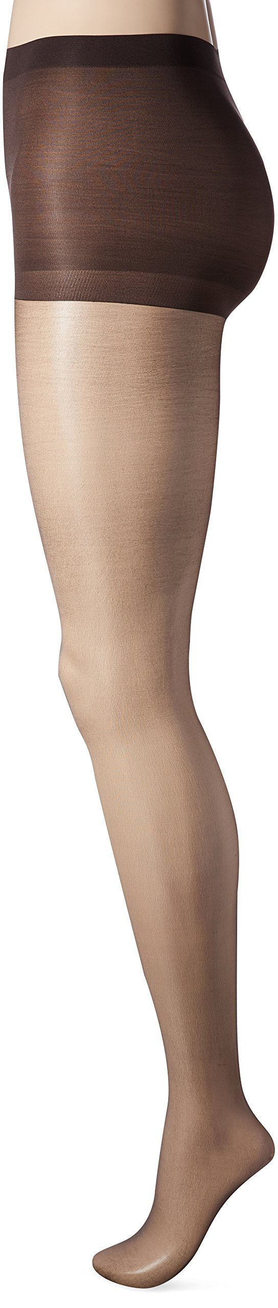 L'eggs Women's Silken Mist Control Top Sheer Toe Run Resist Ultra Sheer Leg Panty Hose, Black Mist, Q+