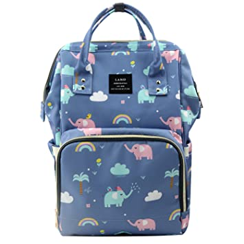 31e99607825 Amazon.com   Land Cute Diaper Bag Backpack Large Capacity Baby Nappy Tote  Bags with Elephant Cloud Pattern   Baby