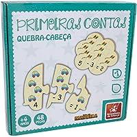 Brinquedo Pedagógico Madeira Primeiras Contas 48 Peças Brincadeira de Criança