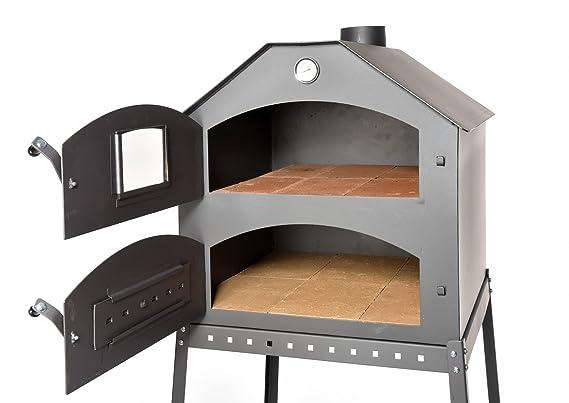 Profesional Pizza Horno para el jardín ☆ schamott Termómetro de piedra Válvula de estrangulación | Pizza de horno con doble cámara, ...