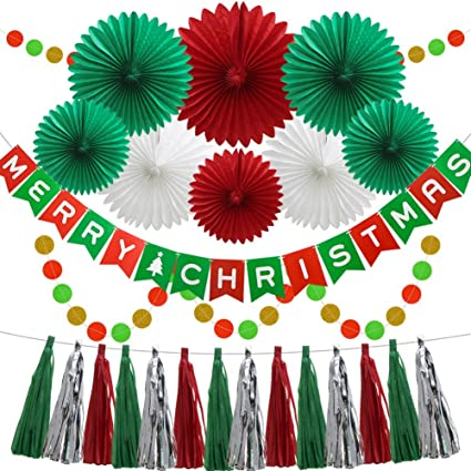 christmas new year hanging party decoration kit tissue paper honeycomb fans festival banner circle bunting - Christmas Party Decorations