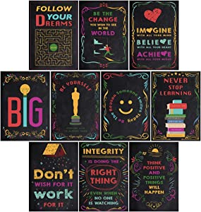 Ihopes Inspirational Motivational Quotes Posters Wall Art for Classroom & Office | Perfect Decorations for Teachers/Students/Kids/School Counselors/Home/Office | Set of 10 (Bright Colors&Chalkboard)