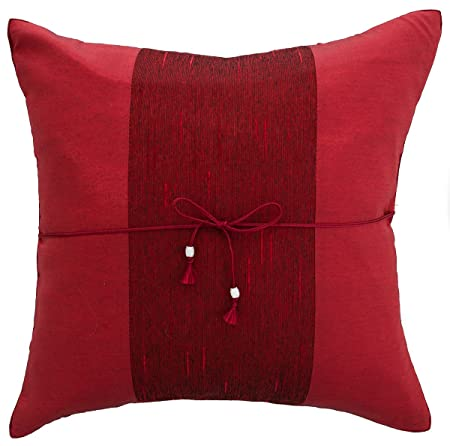 Avarada Striped Crepe Throw Pillow Cover Decorative Sofa Couch Cushion Cover Zippered 20x20 Inch 50x50 Cm Red Cp01 005