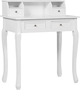 32in Colonial Writing Desk for Home Office Study w/ 4 Drawers, 2 Cubbies, Floating Hutch - White
