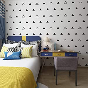 """Triangles Wall Pattern Outline & Solid Vinyl Decal Stickers (Black 3""""/ 4 Set of 84)"""