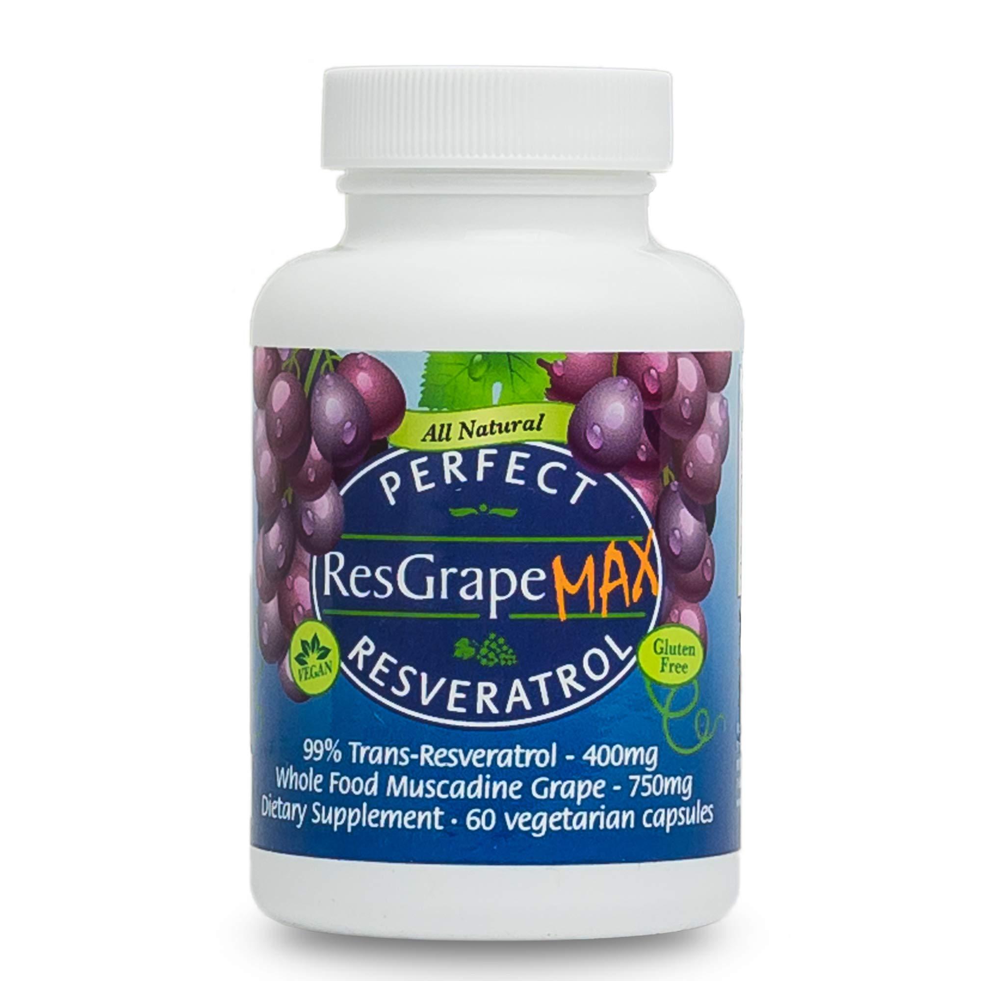 Perfect ResGrape Max ~ 99% Trans-Resveratrol & Muscadine Grape ~ Anti-Aging Supplement & Potent Antioxidant ~ 60 Vegetable Capsules