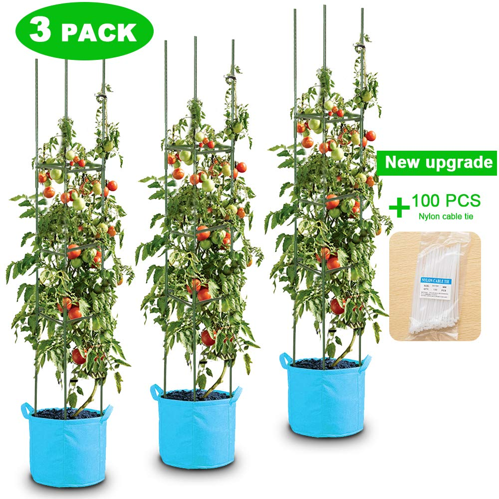 LEBOO 3-Pack(61inch) Vegetable Trellis Tomato Cages Plant Supports, Adjustable Garden Cages Tomato Plant Stakes for Vertical Climbing Plants, with 100 Cable Ties