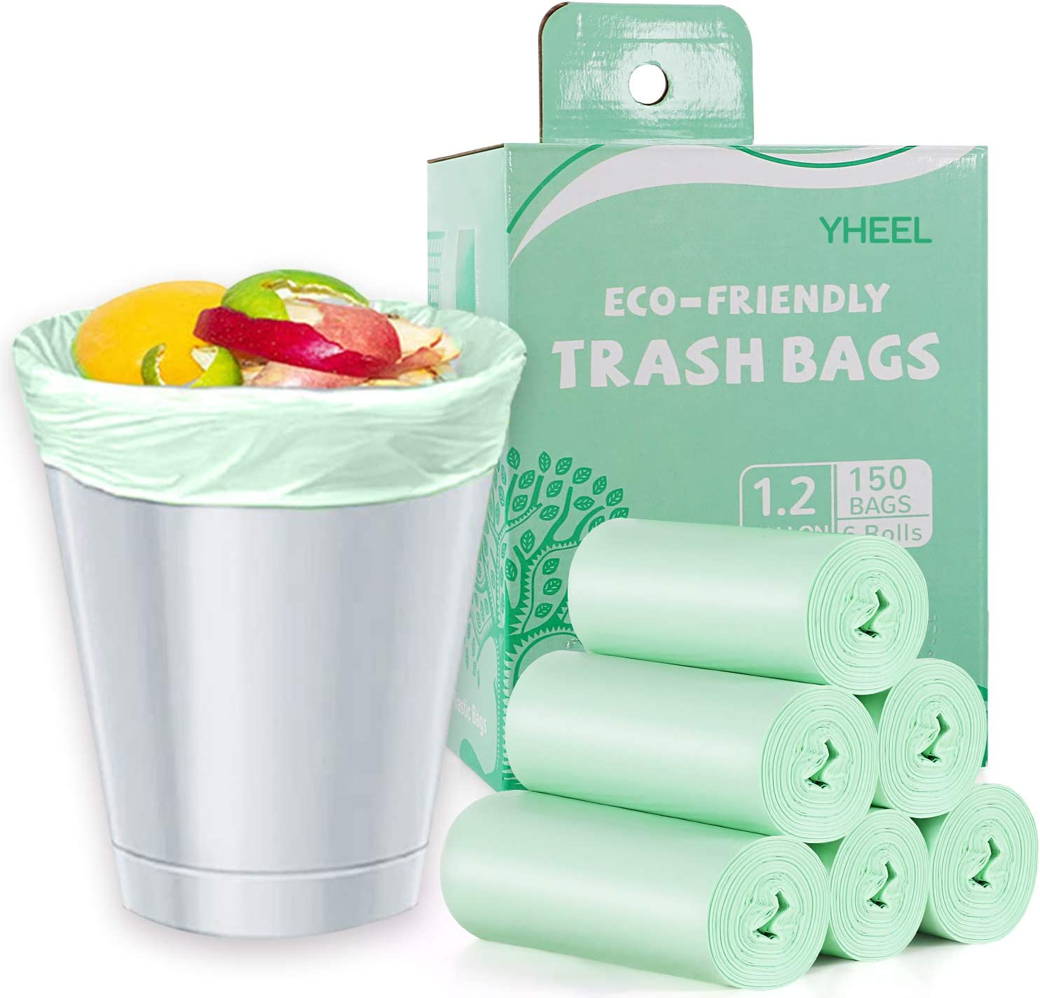 1.2 Gallon Small Trash bags Biodegradable, Mini Recycling & Degradable Garbage Bags Fit 5 Liter Can Liners for Kitchen Bathroom Office Car (150 Counts,Green)
