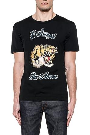 Gucci Hombre 430813X5M721082 Negro Algodon T-Shirt: Amazon.es ...