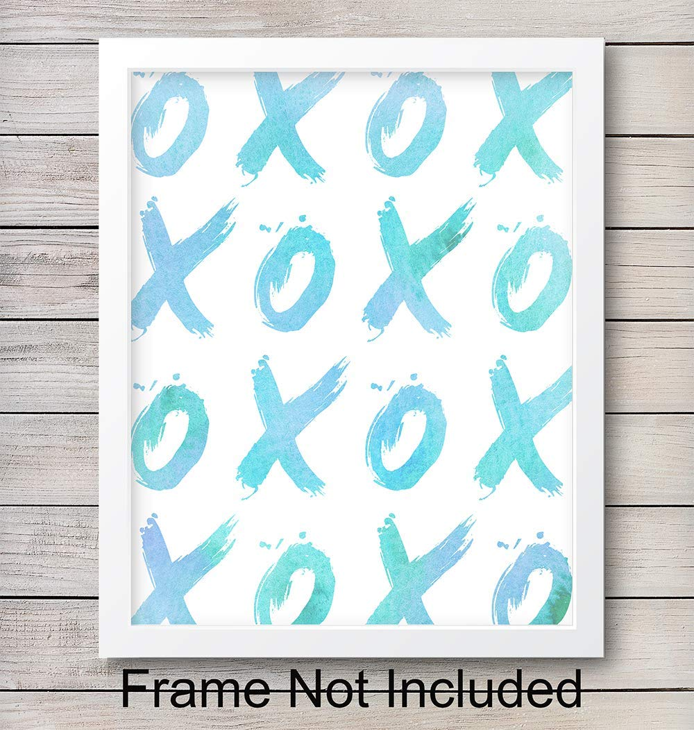 XOXOXO Watercolor Unframed Wall Art Print - Set of Two - Perfect Affordable Gift - Modern Chic Home Decor - Ready to Frame (8X10) Photo - Blue