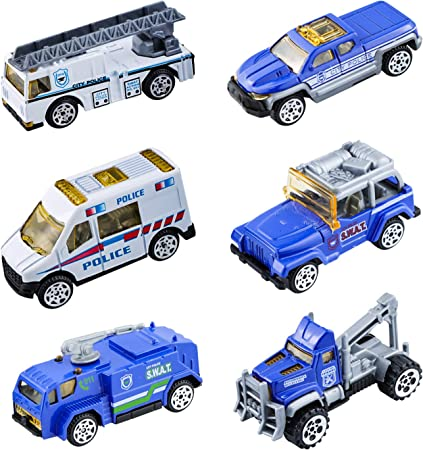 BenRich 6 Piece Mini Die Cast Car 1/64 Scale Alloy Police Vehicle Metal Model Toys for Boys Girls Christmas Birthday Gift