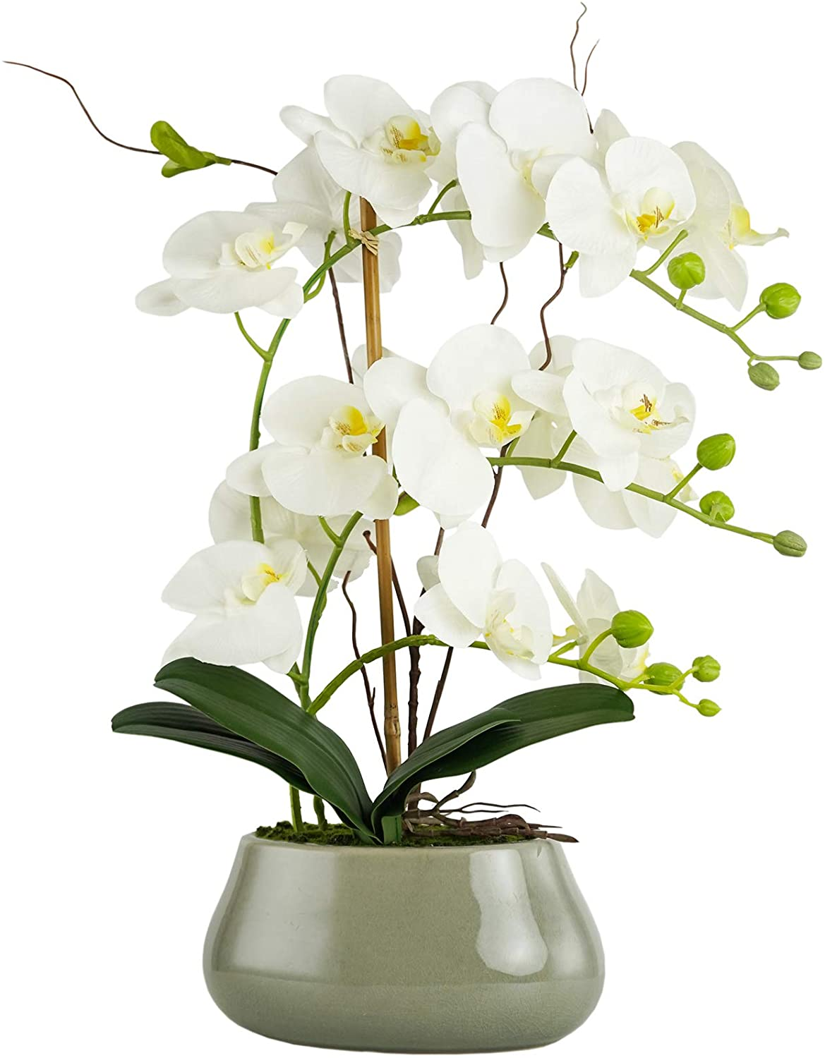 Artificial Plants Faux Flowers in Ceramic Vase Phalaenopsis White Orchids Flowers, Fake Orchid Artificial Flowers for Decoration Home Office Party Table Decor